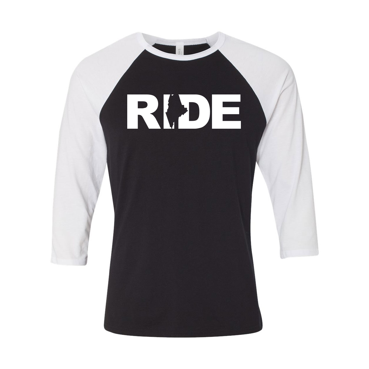 Ride Maine Classic Raglan Shirt Black/White (White Logo)