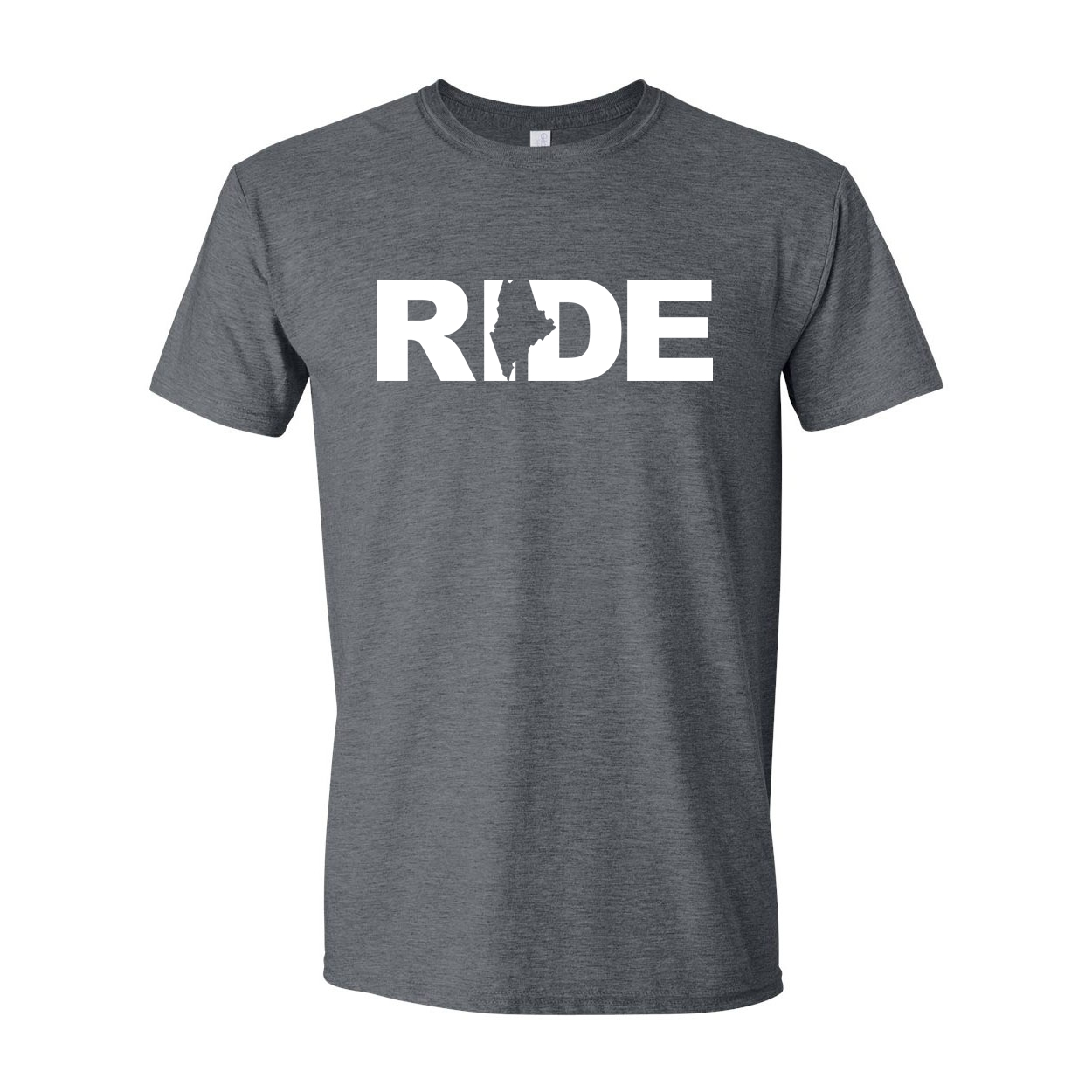 Ride Maine Classic T-Shirt Dark Heather Gray (White Logo)