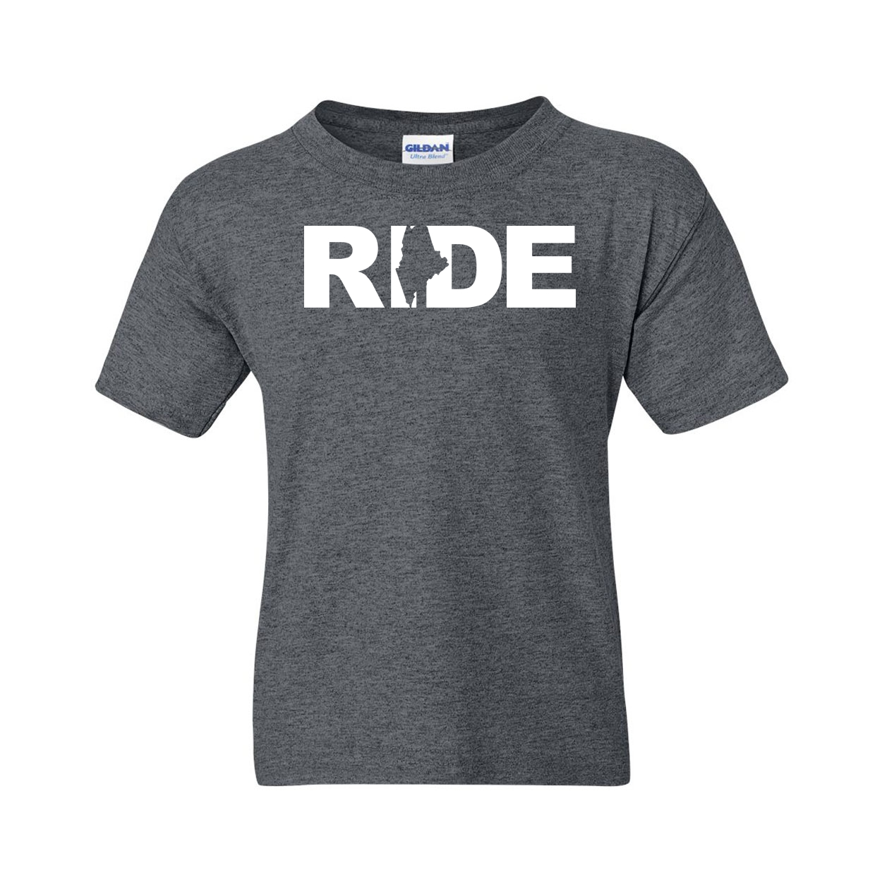 Ride Maine Classic Youth T-Shirt Dark Heather Gray (White Logo)
