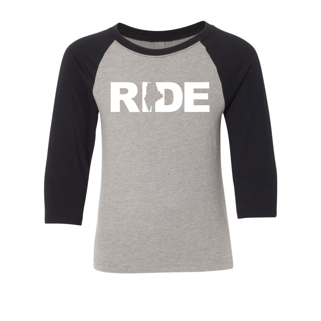 Ride Maine Classic Youth Premium Raglan Shirt Gray/Black (White Logo)