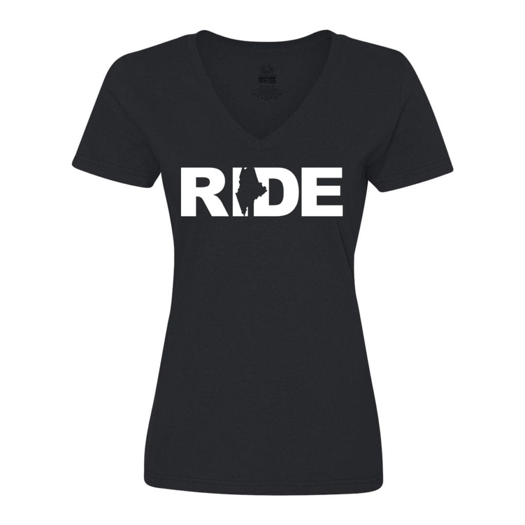 Ride Maine Classic Women's V-Neck Shirt Black (White Logo)