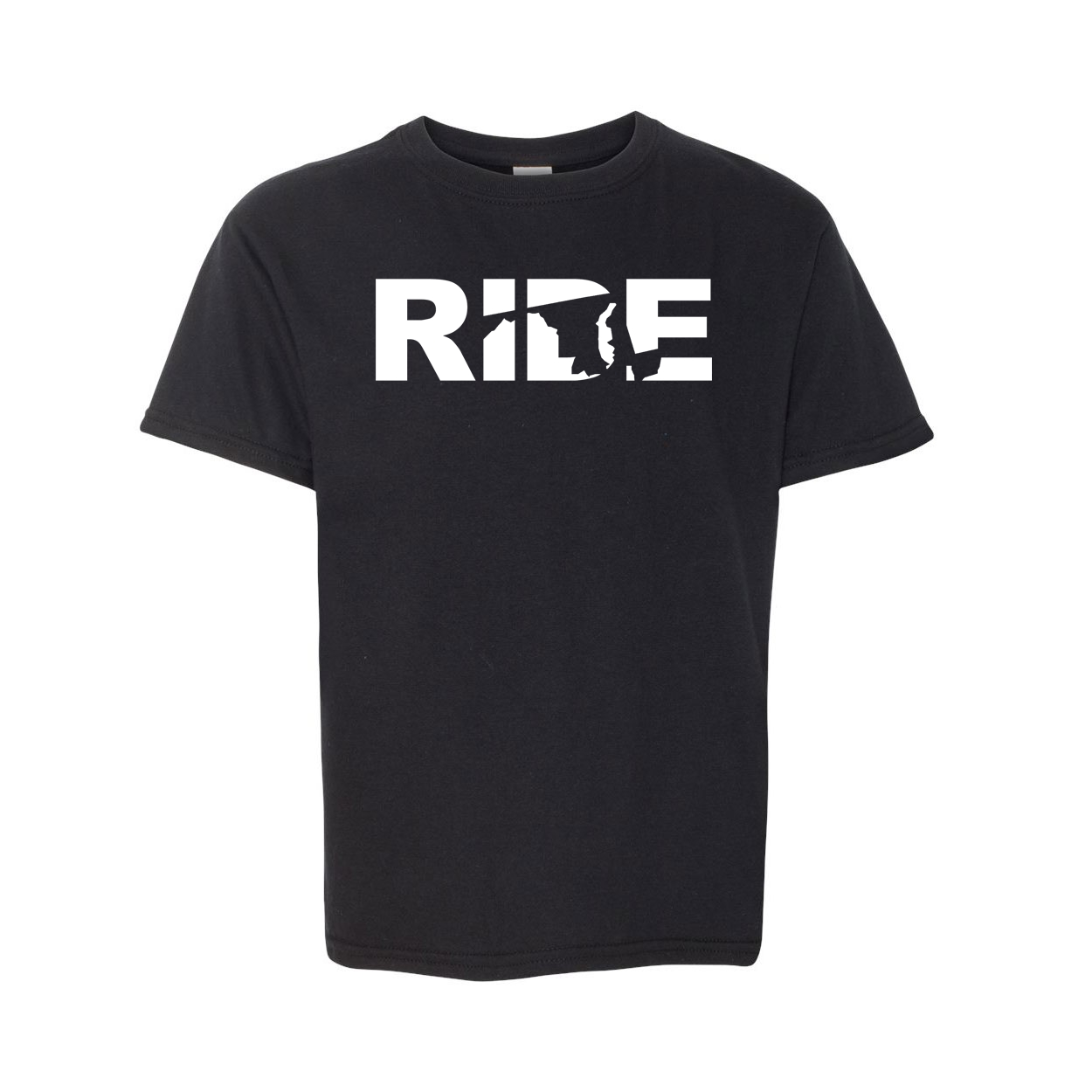Ride Maryland Classic Youth T-Shirt Black (White Logo)