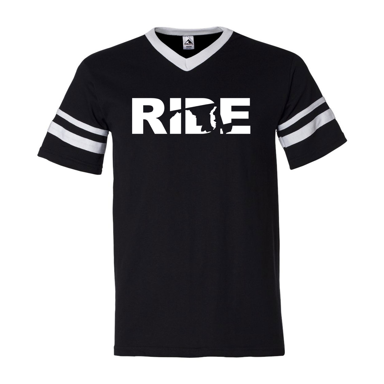Ride Maryland Classic Premium Striped Jersey T-Shirt Black/White (White Logo)