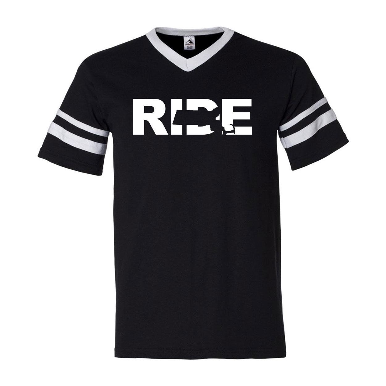 Ride Massachusetts Classic Premium Striped Jersey T-Shirt Black/White (White Logo)