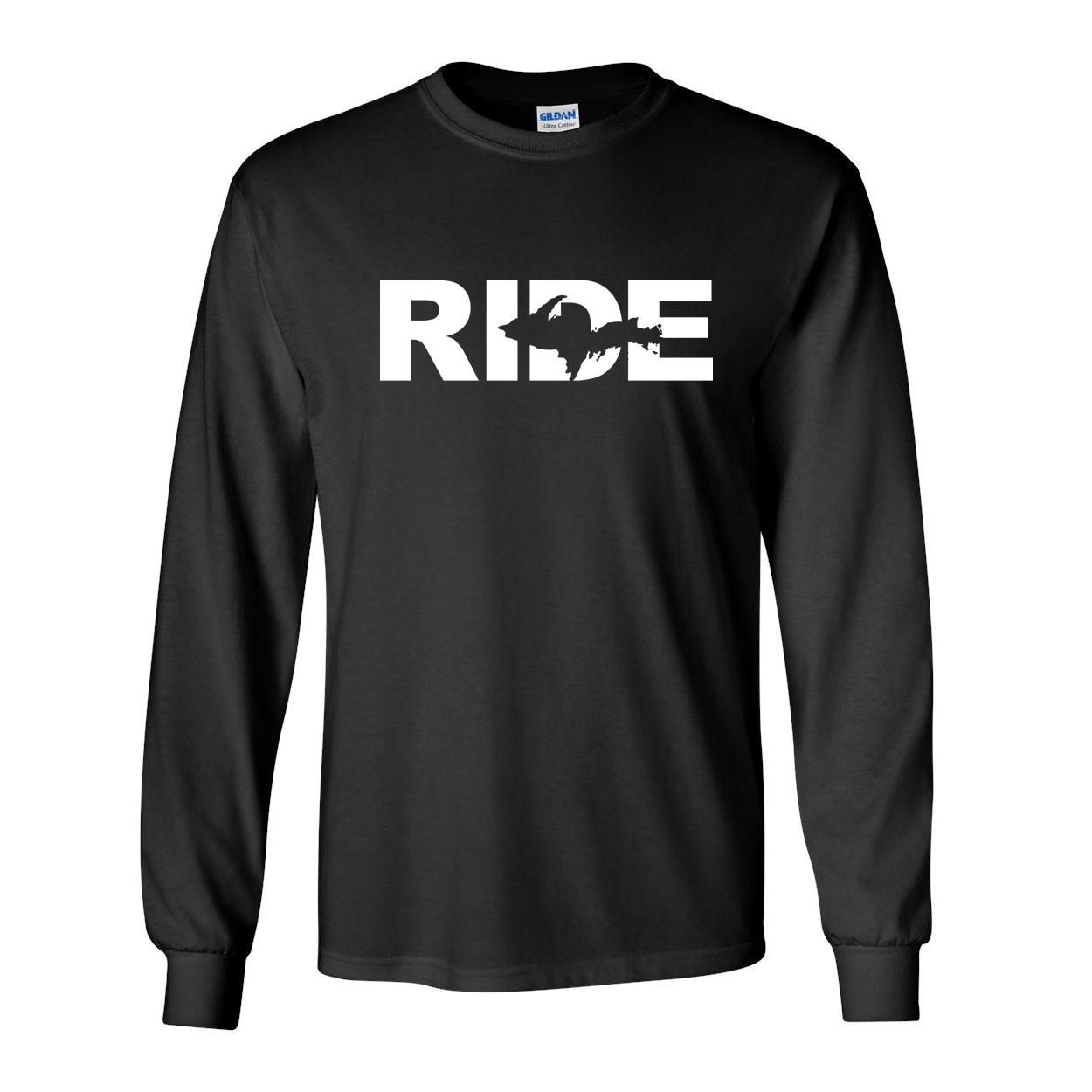 Ride Michigan UP Classic Long Sleeve T-Shirt Black (White Logo)