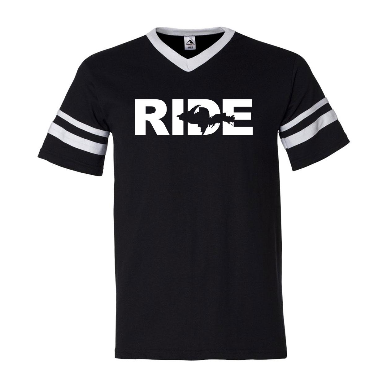 Ride Michigan UP Classic Premium Striped Jersey T-Shirt Black/White (White Logo)