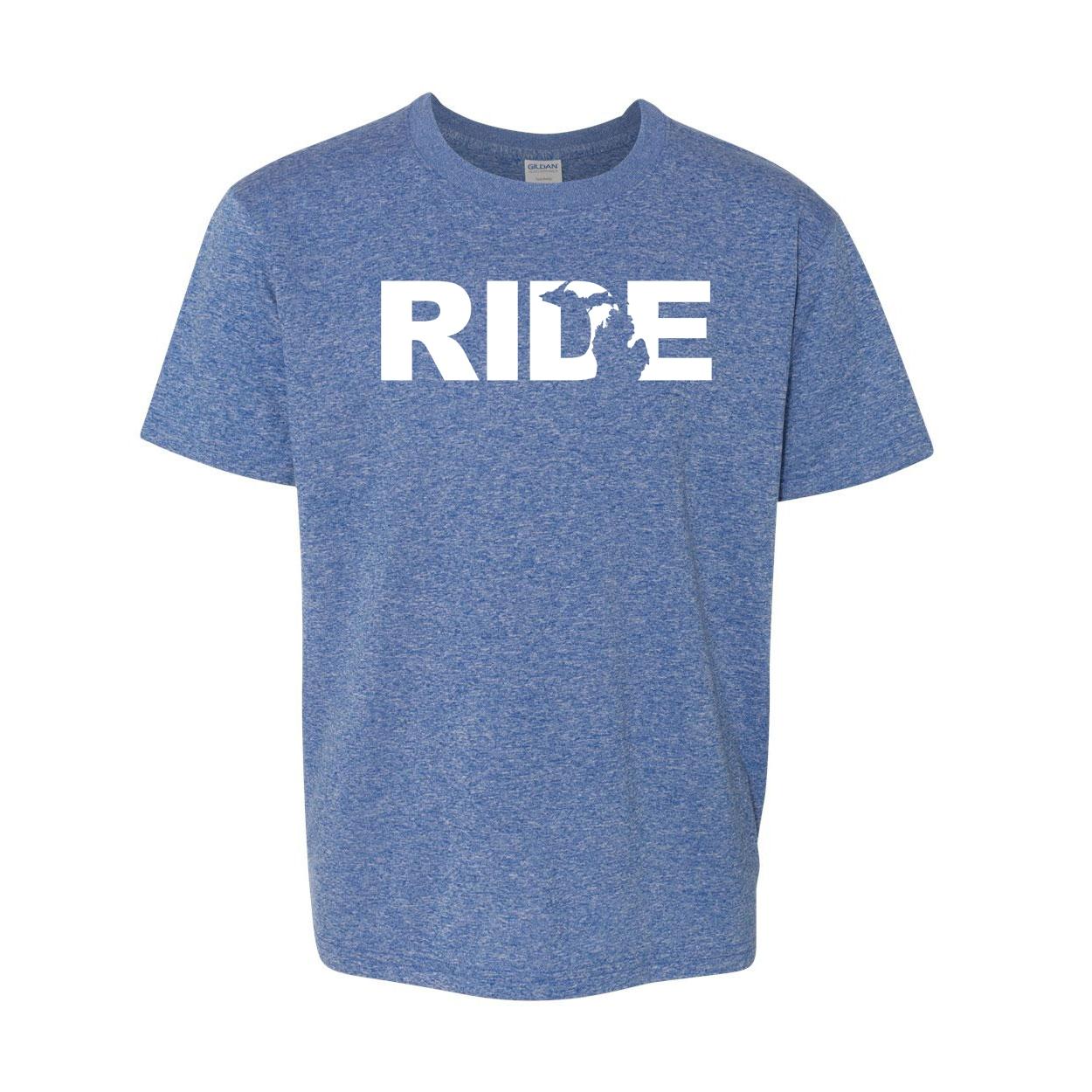 Ride Michigan Classic Youth T-Shirt Blue (White Logo)