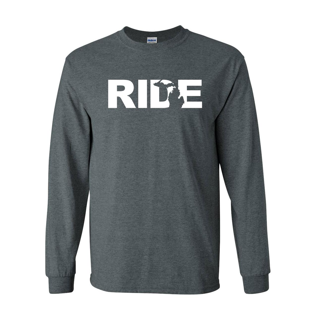 Ride Michigan Classic Long Sleeve T-Shirt Dark Heather (White Logo)
