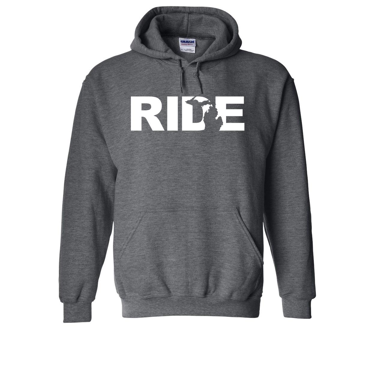 Ride Michigan Classic Sweatshirt Dark Heather Gray (White Logo)