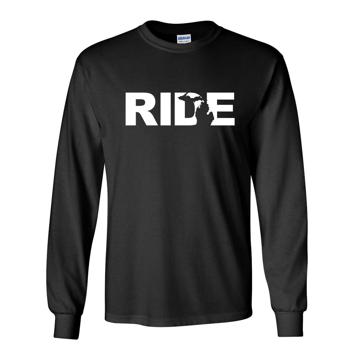 Ride Michigan Classic Long Sleeve T-Shirt Black (White Logo)