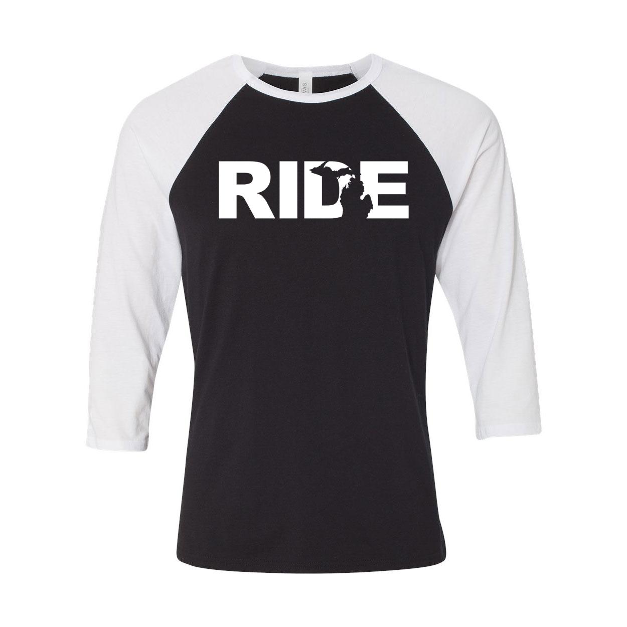 Ride Michigan Classic Raglan Shirt Black/White (White Logo)