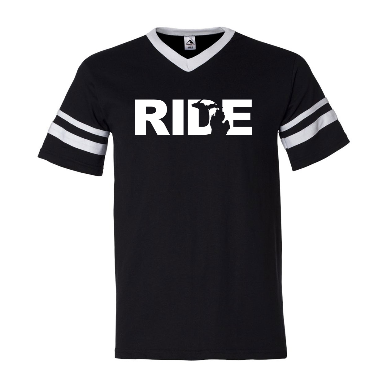 Ride Michigan Classic Premium Striped Jersey T-Shirt Black/White (White Logo)