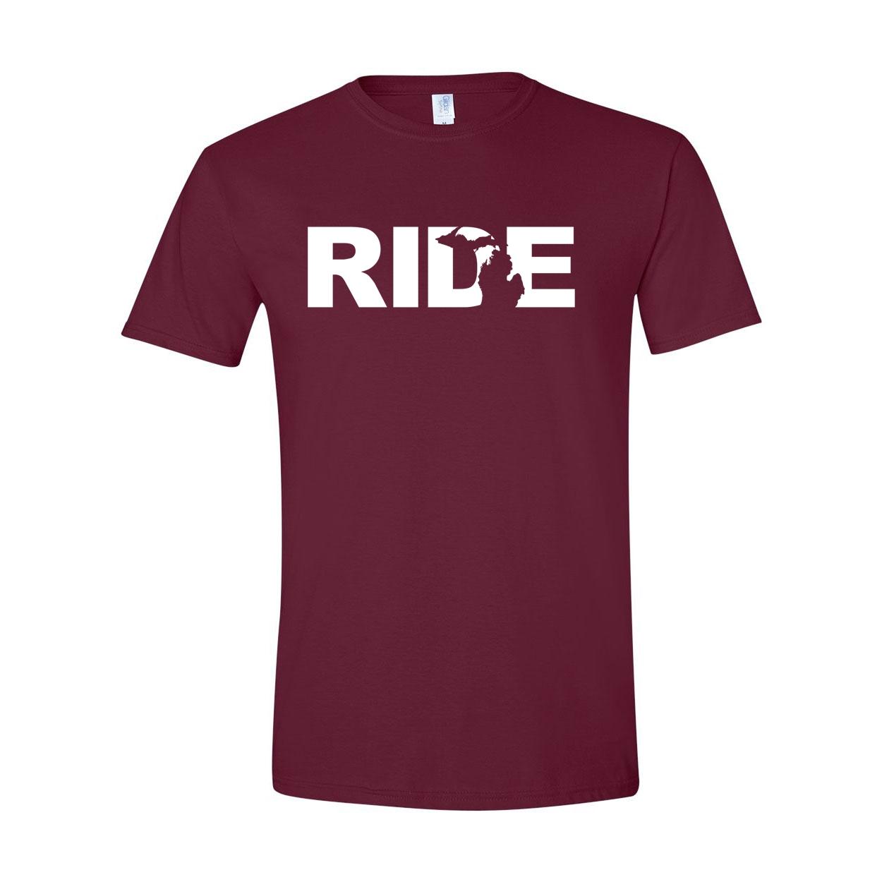 Ride Michigan Classic T-Shirt Maroon (White Logo)