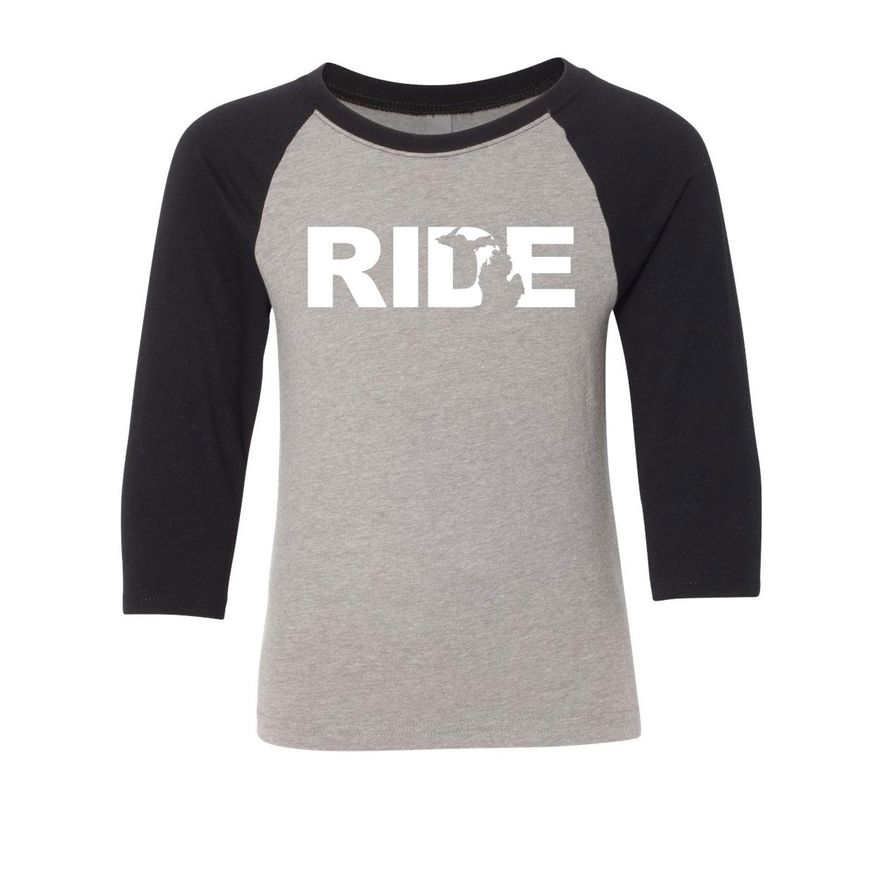 Ride Michigan Classic Youth Premium Raglan Shirt Gray/Black (White Logo)