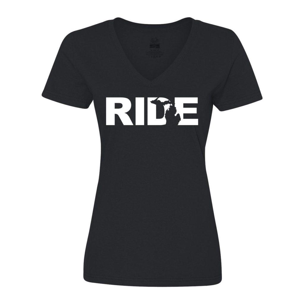 Ride Michigan Classic Women's V-Neck Shirt Black (White Logo)