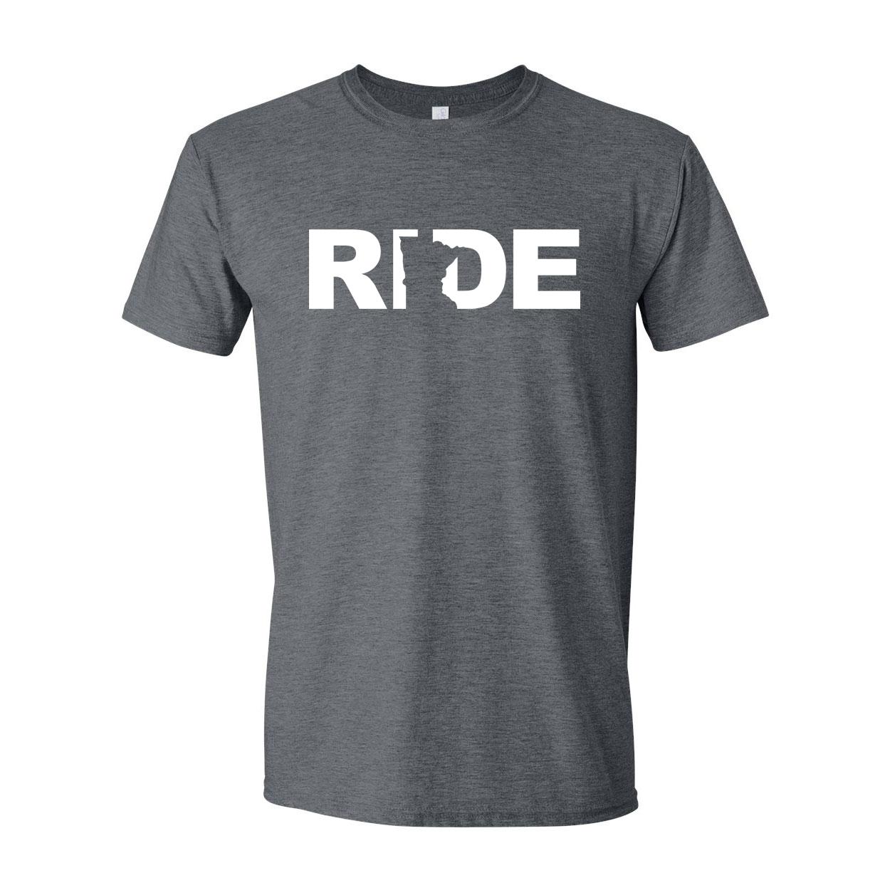 Ride Minnesota Classic T-Shirt Dark Heather Gray (White Logo)