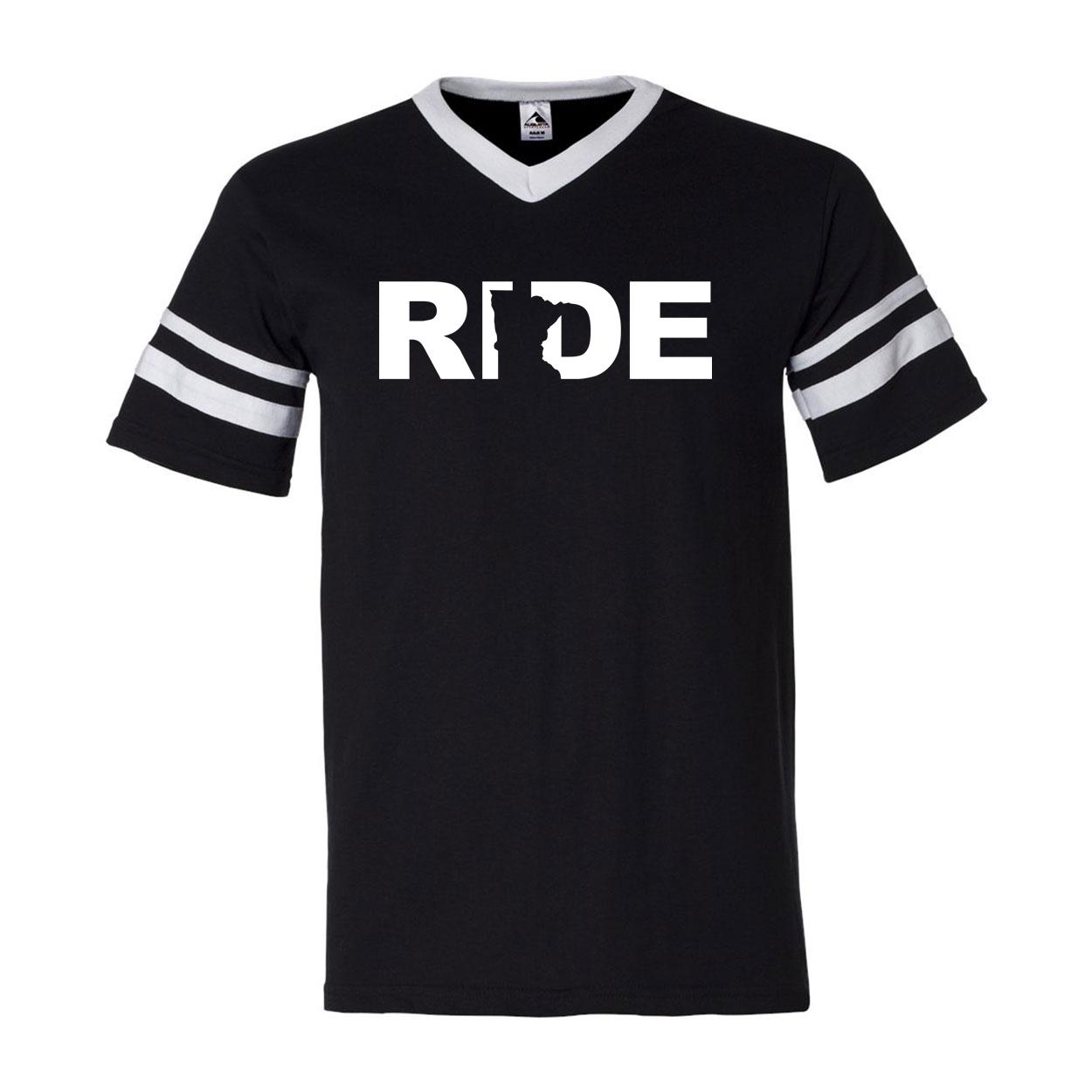 Ride Minnesota Classic Premium Striped Jersey T-Shirt Black/White (White Logo)