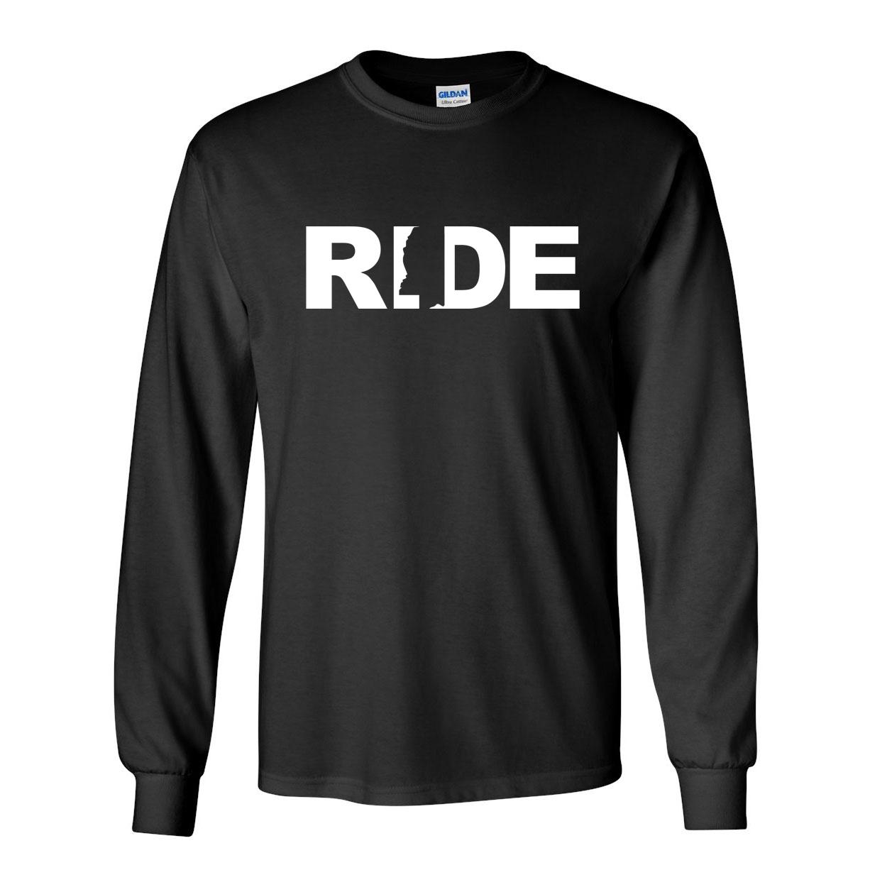 Ride Mississippi Classic Long Sleeve T-Shirt Black (White Logo)