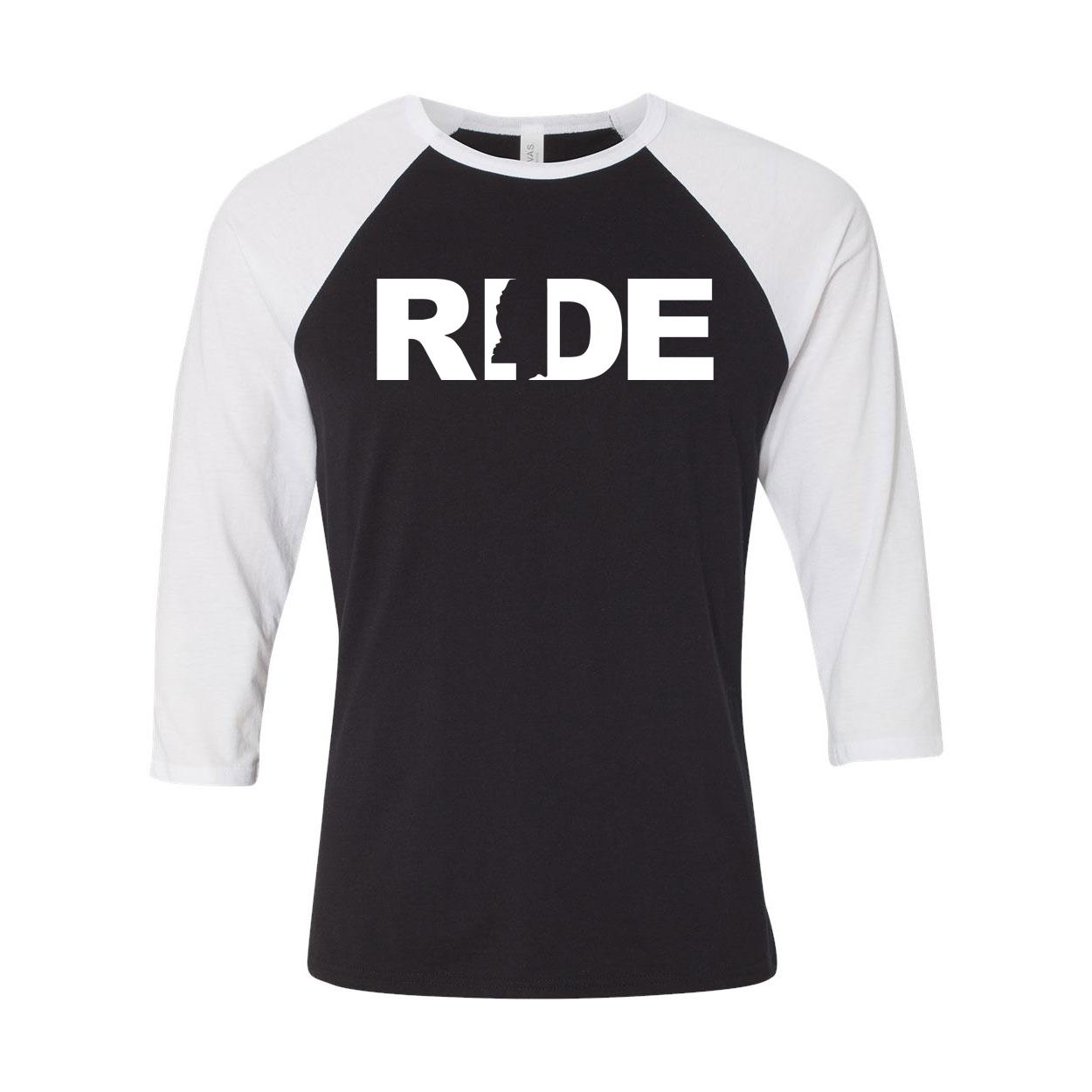 Ride Mississippi Classic Raglan Shirt Black/White (White Logo)