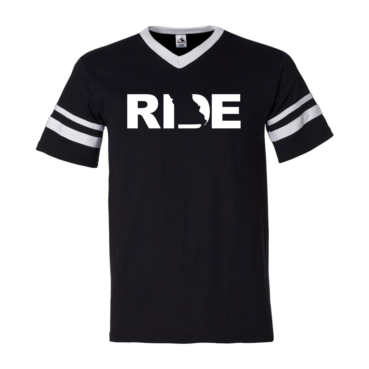 Ride Missouri Classic Premium Striped Jersey T-Shirt Black/White (White Logo)