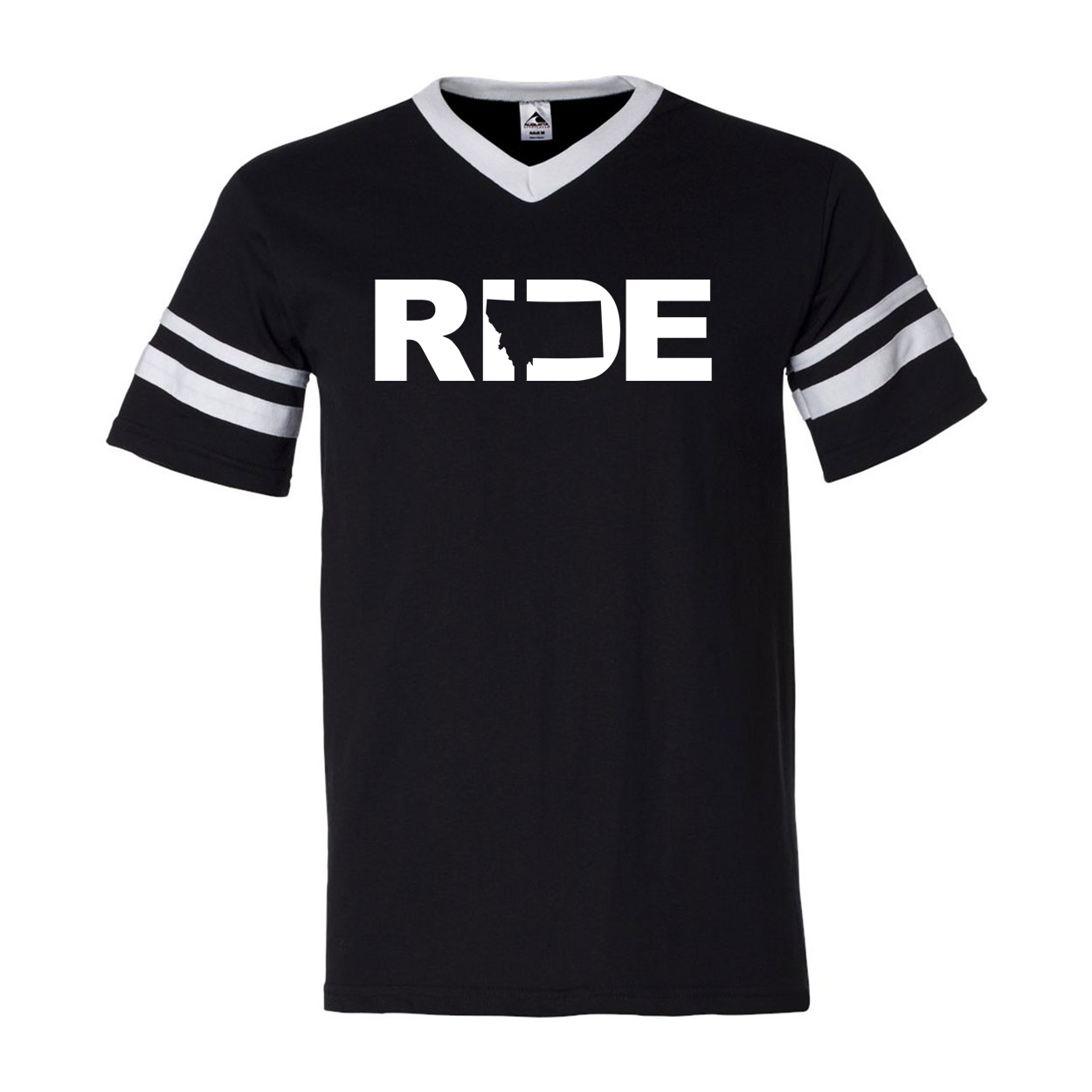 Ride Montana Classic Premium Striped Jersey T-Shirt Black/White (White Logo)
