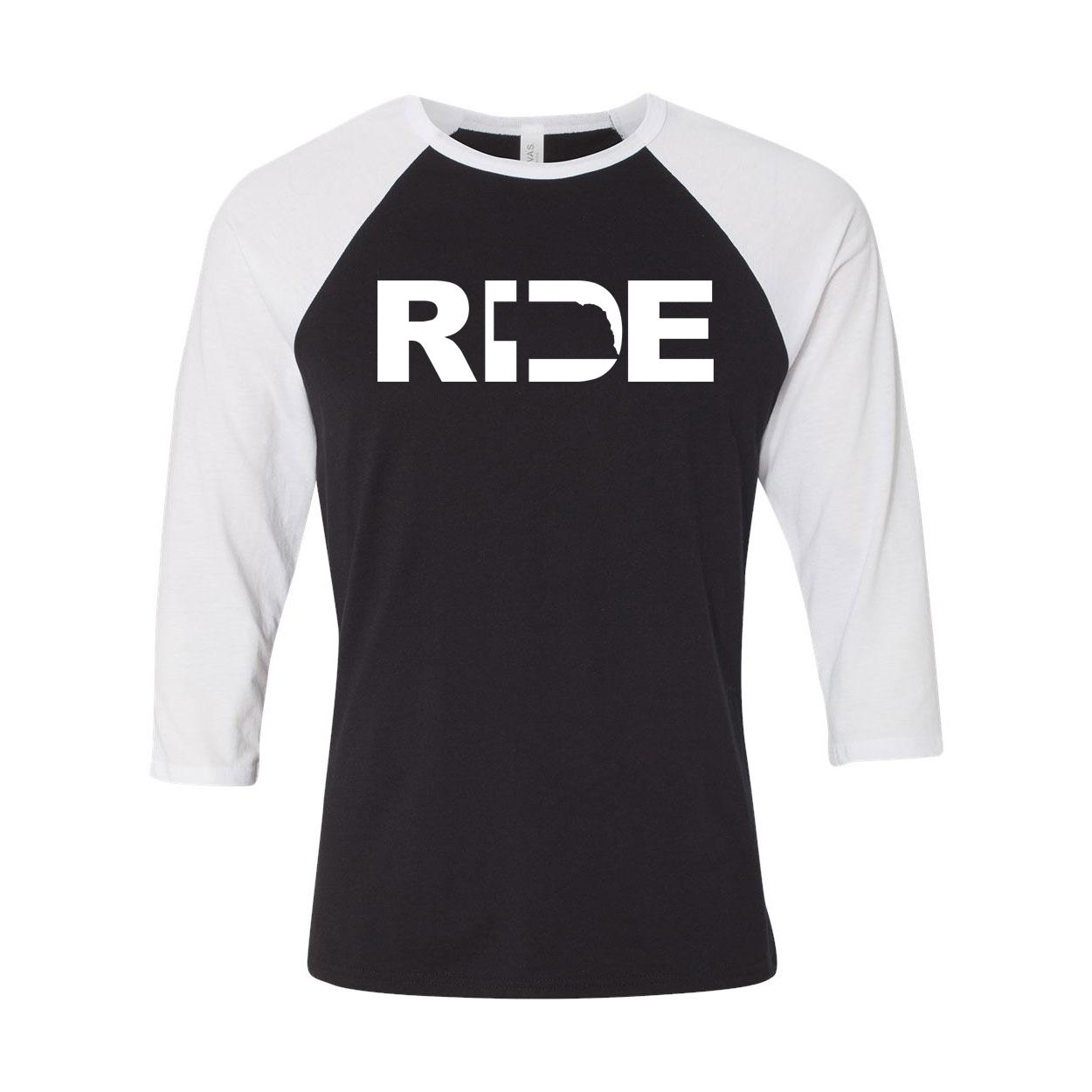 Ride Nebraska Classic Raglan Shirt Black/White (White Logo)