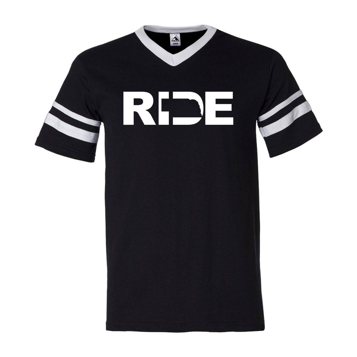 Ride Nebraska Classic Premium Striped Jersey T-Shirt Black/White (White Logo)