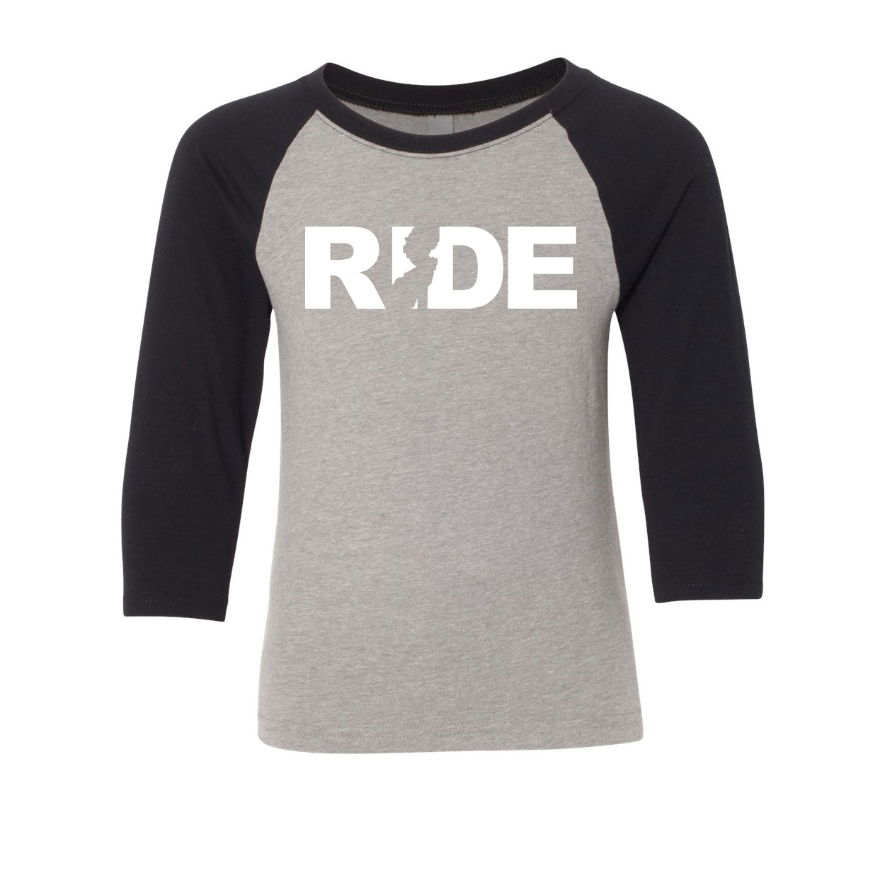 Ride New Jersey Classic Youth Premium Raglan Shirt Gray/Black (White Logo)