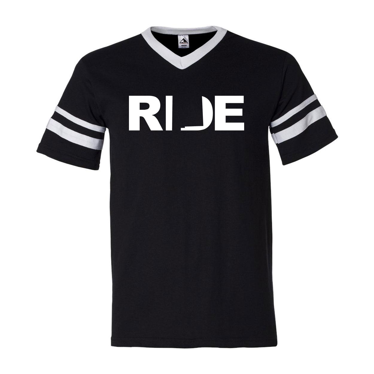 Ride New Mexico Classic Premium Striped Jersey T-Shirt Black/White (White Logo)
