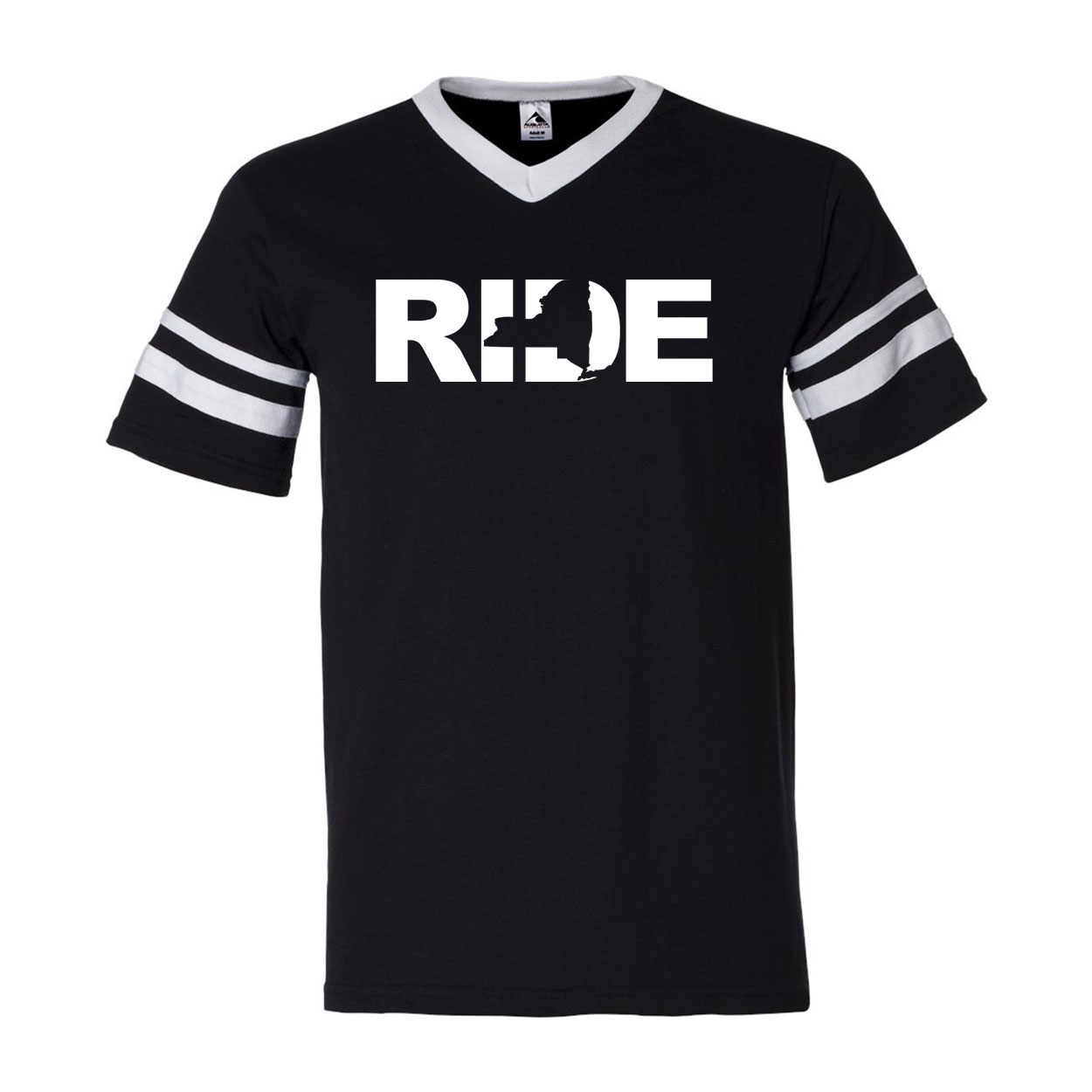 Ride New York Classic Premium Striped Jersey T-Shirt Black/White (White Logo)