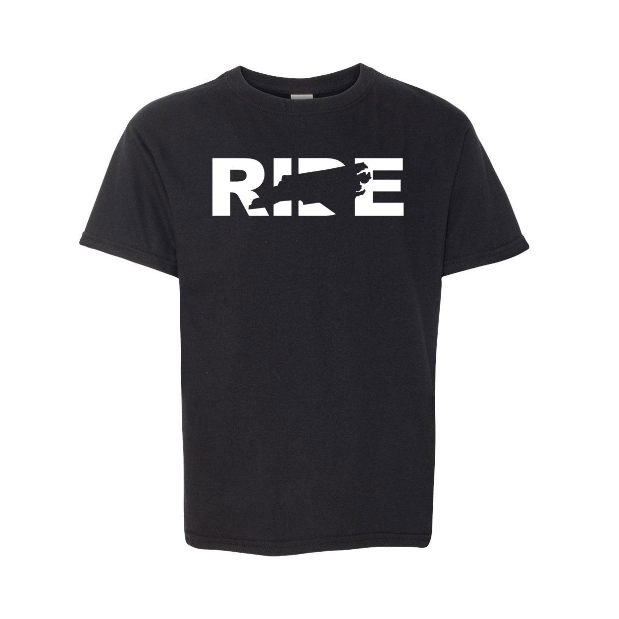 Ride North Carolina Classic Youth T-Shirt Black (White Logo)