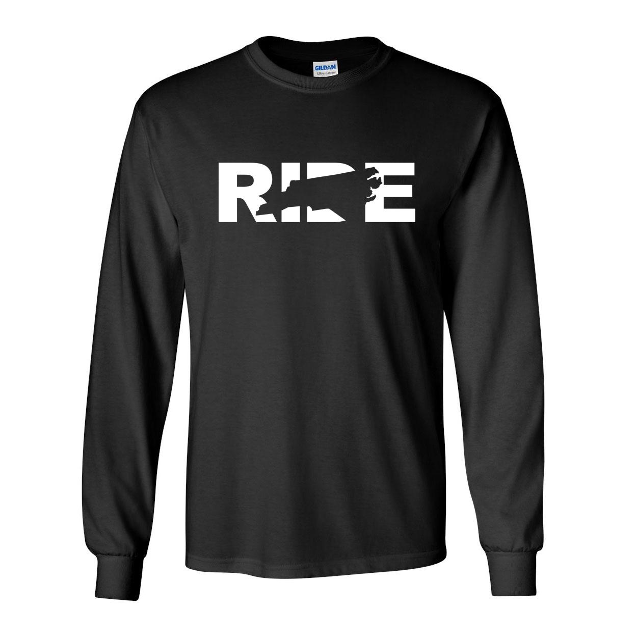 Ride North Carolina Classic Long Sleeve T-Shirt Black (White Logo)