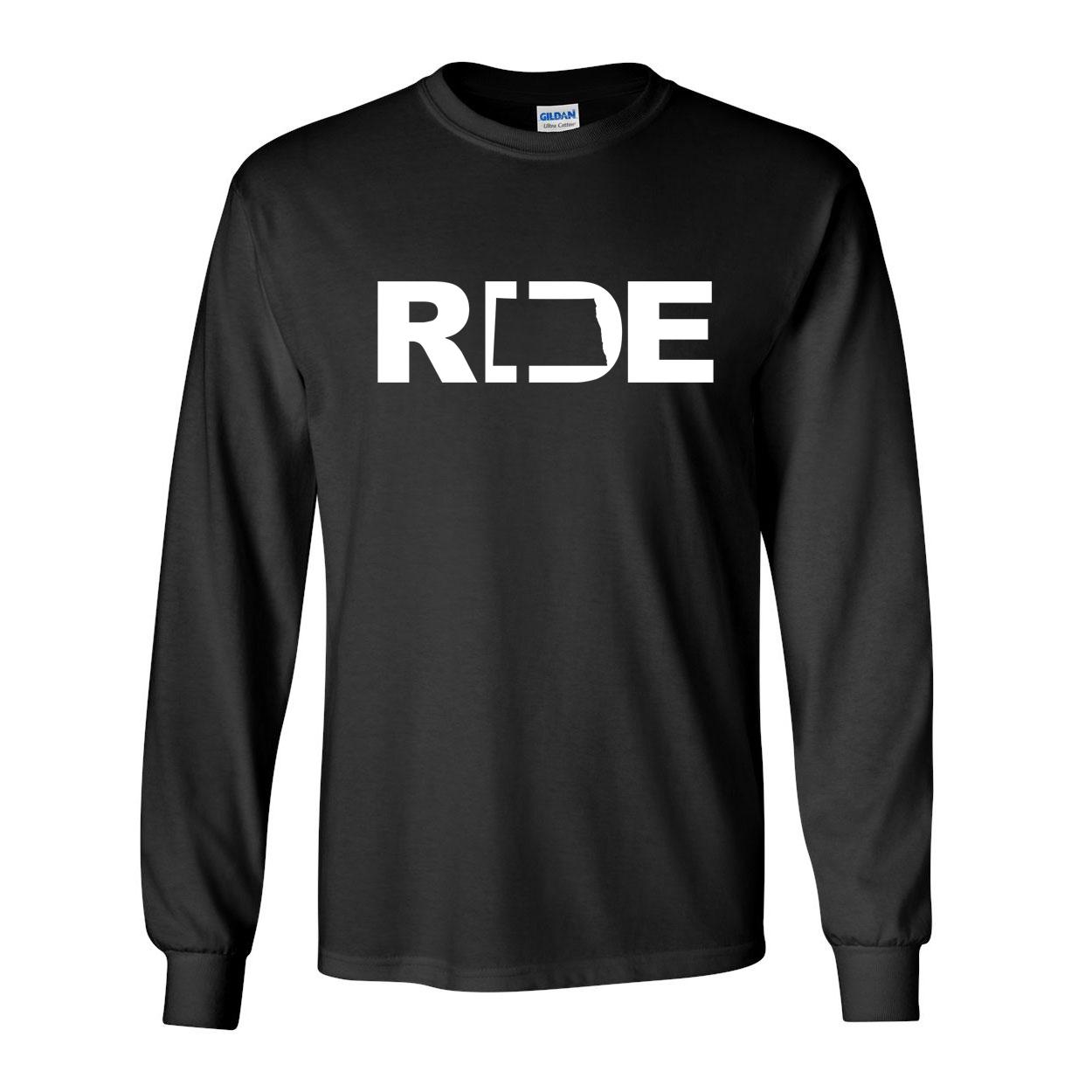 Ride North Dakota Classic Long Sleeve T-Shirt Black (White Logo)