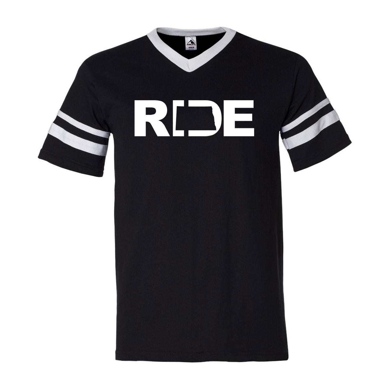 Ride North Dakota Classic Premium Striped Jersey T-Shirt Black/White (White Logo)