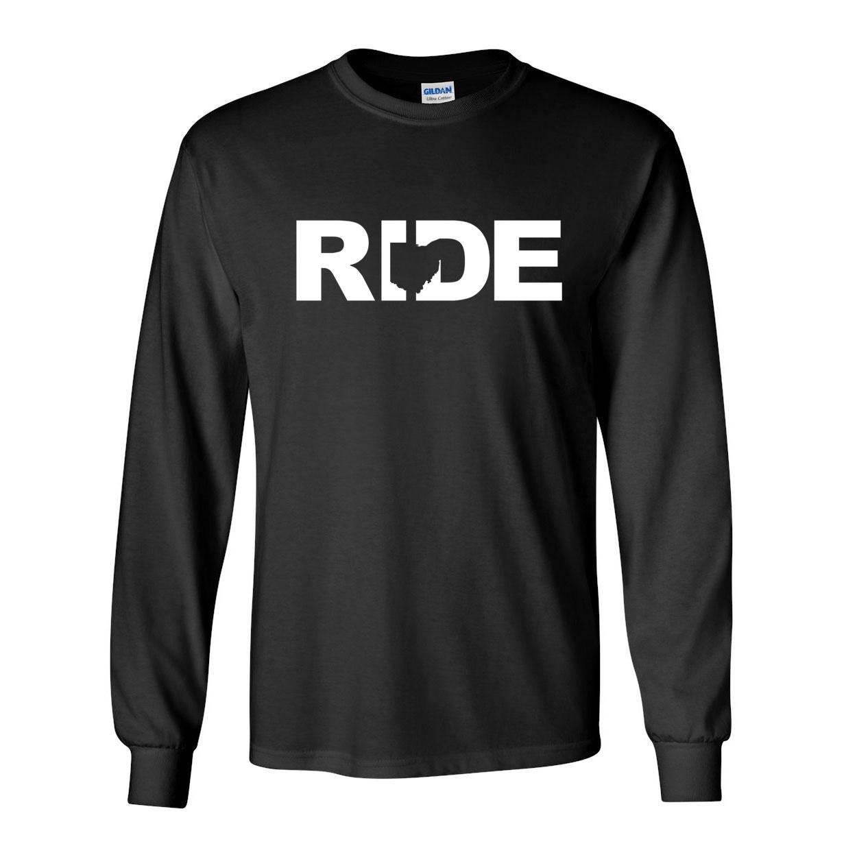 Ride Ohio Classic Long Sleeve T-Shirt Black (White Logo)
