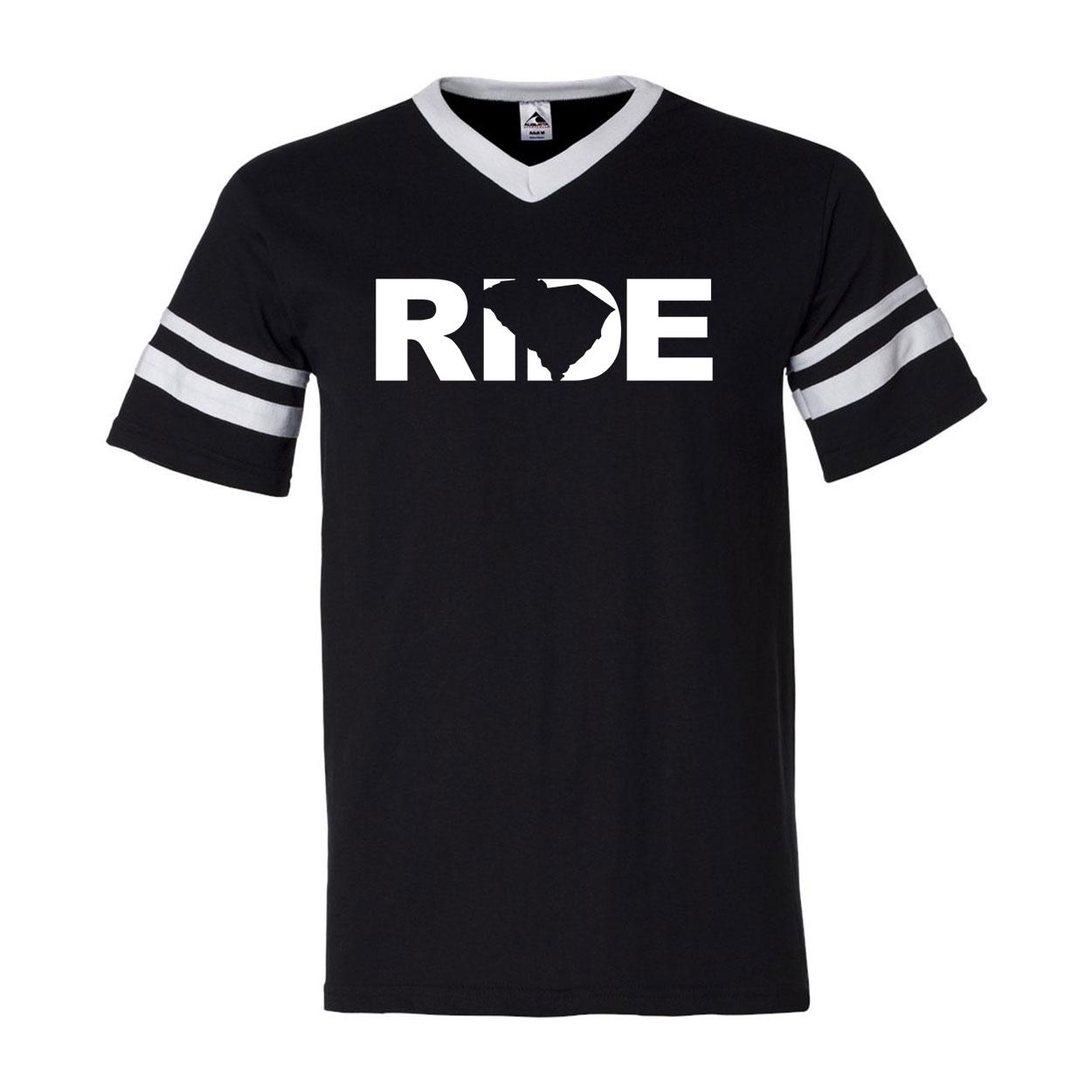 Ride South Carolina Classic Premium Striped Jersey T-Shirt Black/White (White Logo)