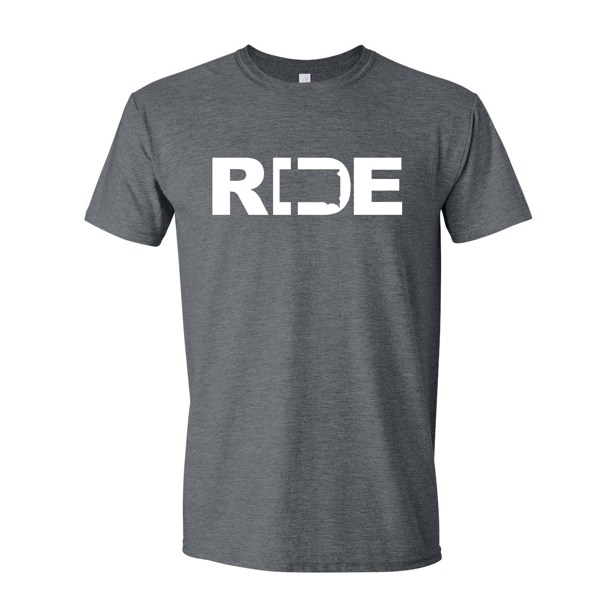 Ride South Dakota Classic T-Shirt Dark Heather Gray (White Logo)