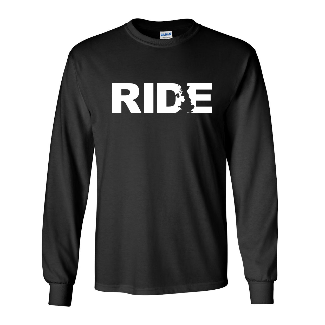 Ride United Kingdom Classic Long Sleeve T-Shirt Black (White Logo)