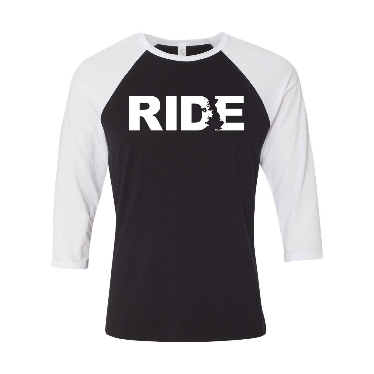 Ride United Kingdom Classic Raglan Shirt Black/White (White Logo)