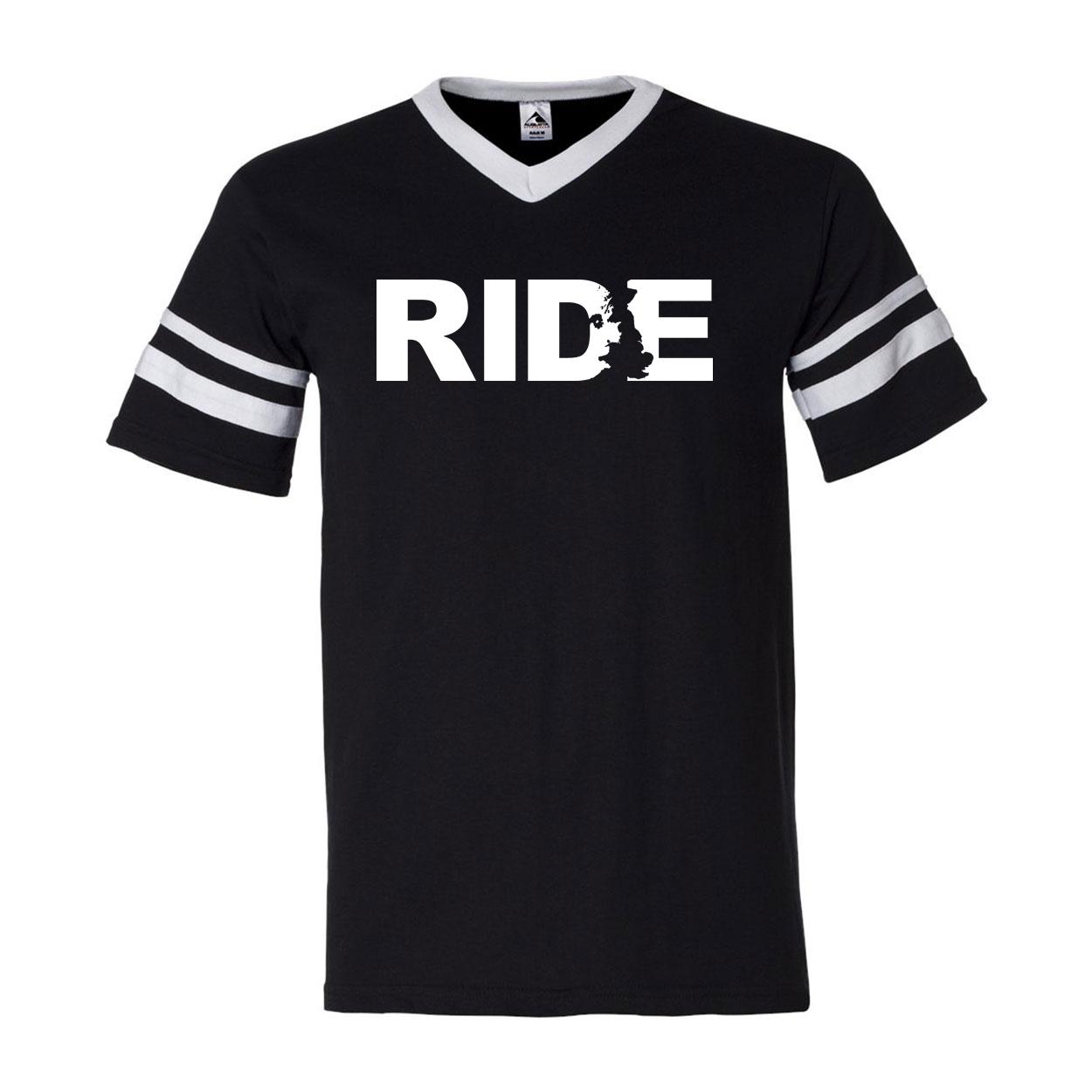 Ride United Kingdom Classic Premium Striped Jersey T-Shirt Black/White (White Logo)