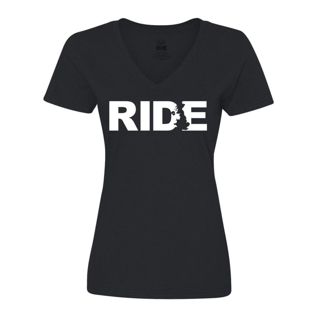 Ride United Kingdom Classic Women's V-Neck Shirt Black (White Logo)
