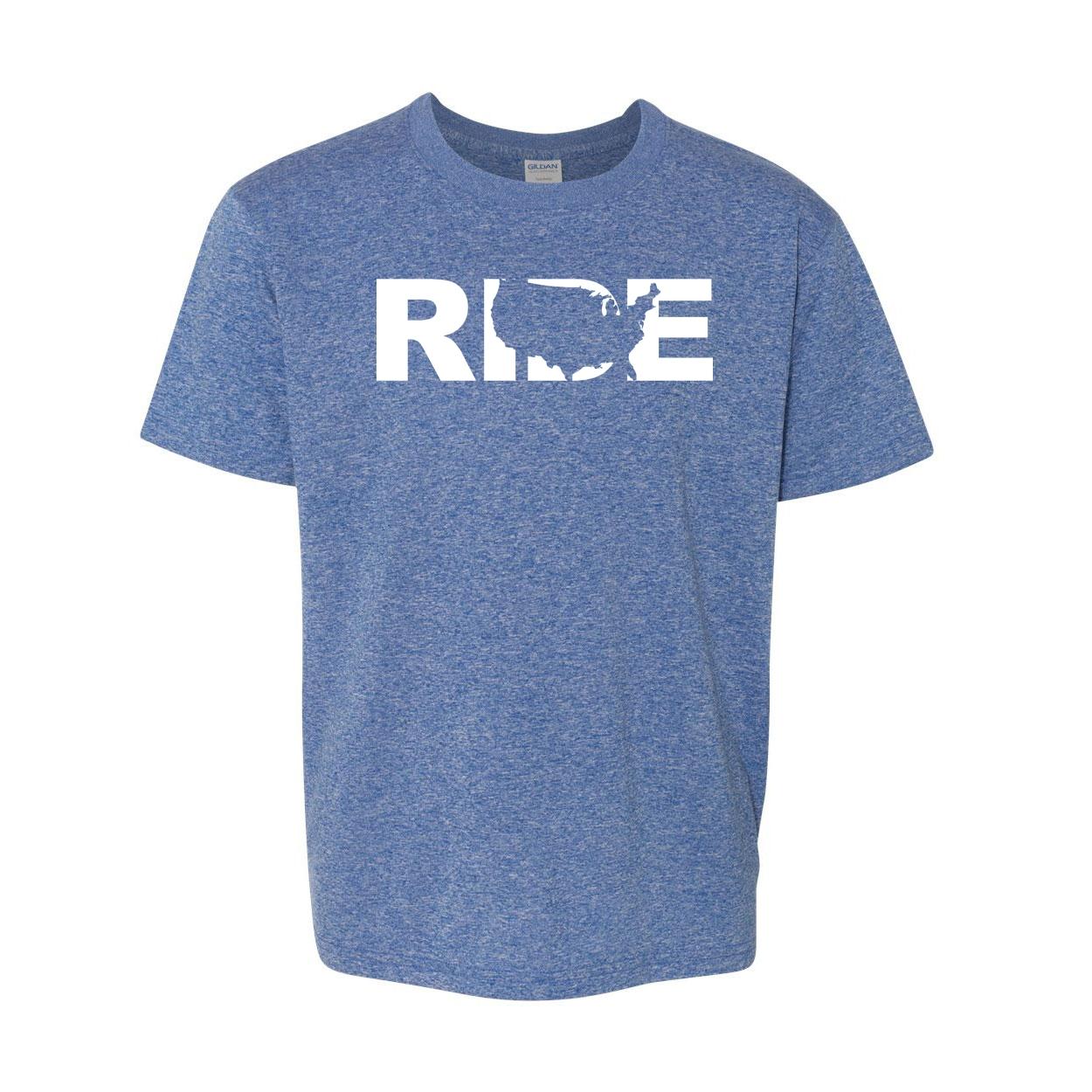 Ride United States Classic Youth T-Shirt Blue (White Logo)