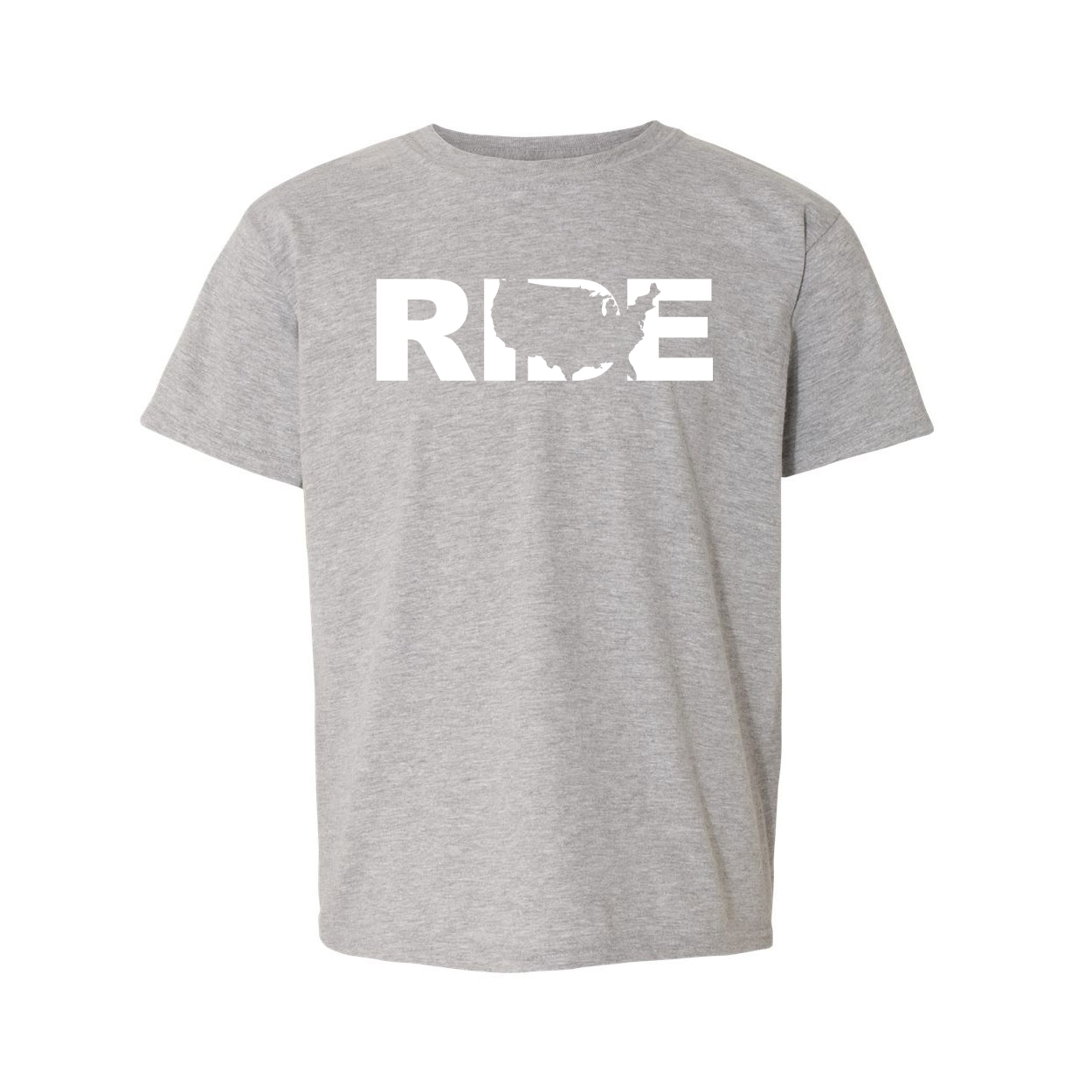 Ride United States Classic Youth T-Shirt Gray (White Logo)
