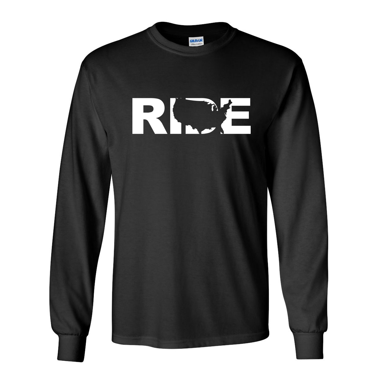 Ride United States Classic Long Sleeve T-Shirt Black (White Logo)