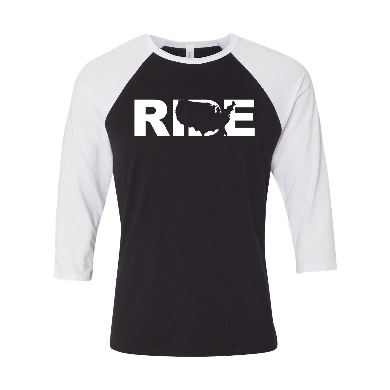 Ride United States Classic Raglan Shirt Black/White (White Logo)