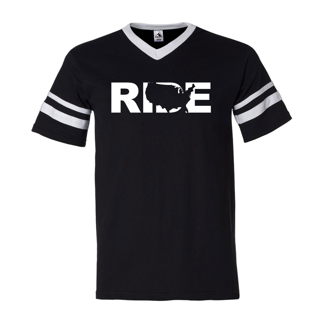 Ride United States Classic Premium Striped Jersey T-Shirt Black/White (White Logo)