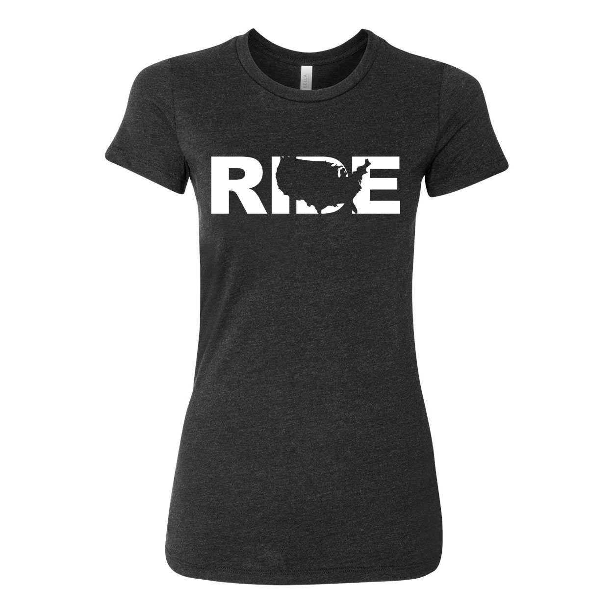 Ride United States Classic Women's Fitted Tri-Blend T-Shirt Dark Heather Gray (White Logo)