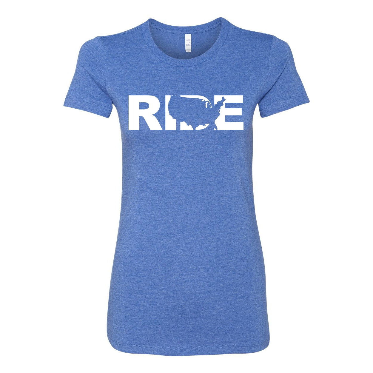 Ride United States Classic Women's Fitted Tri-Blend T-Shirt True Royal Heather Blue (White Logo)