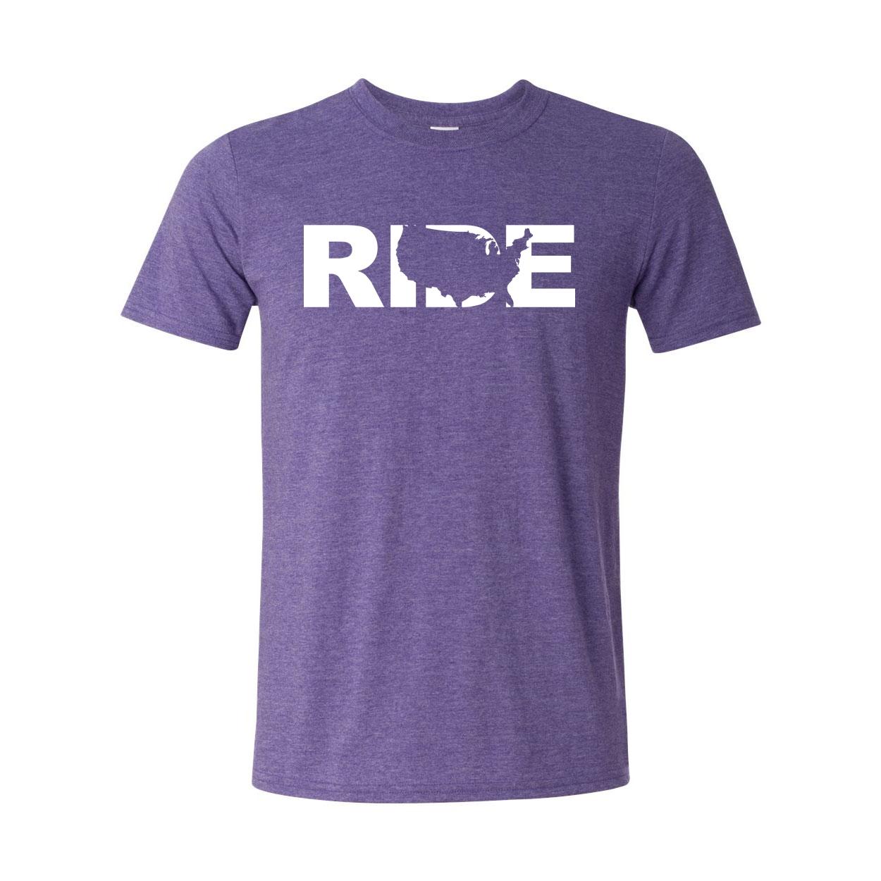Ride United States Classic T-Shirt Heather Purple (White Logo)