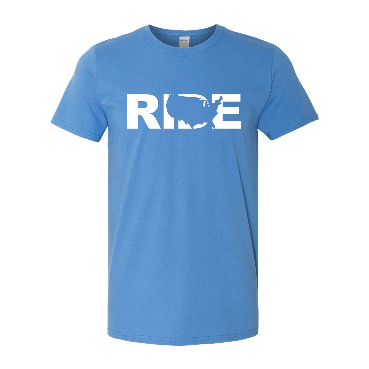 Ride United States Classic T-Shirt Iris Blue (White Logo)